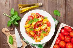 Pic: Fresh colorful tomatoes and basil salad
