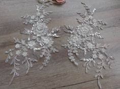 Bridal Beaded Lace Applique Off white Alencon Silver Embroidered Applique for Wedding, Headpieces, Veils, Headbands