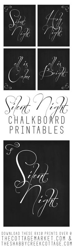 Set of four Silent Night Christmas printables - these would look so pretty on my Christmas mantel this year, framed and hung all together!