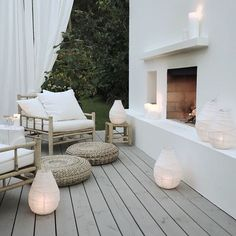 Perfect for the deck. Those lanterns! And those floor cushions!