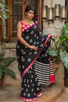 Black and white Ikat pure cotton saree with pink gold temple border #ikat #saree #india #houseofblouse