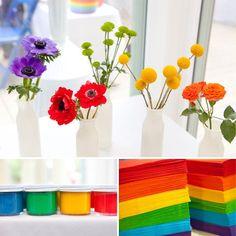 flores coloridas para festa de aniversário