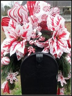 Holiday Mailbox Swags, Christmas Mailbox Swags by Petal Pushers Wreaths  Designs!!! Love this swag!!! Bebe!!! Beautiful combination!!!