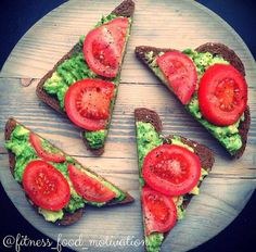 Healthy snack, mmm mashed avocado and sliced tomatoes on whole wheat bread! It almost looks too good to eat, haha!