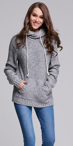 Ellady Long Sleeve Tunic Hoodie Sweater With Pocket