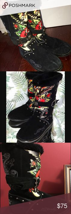 ED Hardy fur tattoo boots! Price drop!! Trade Value is $150. Authentic Don ED Hardy black boots with faux fur at top. Tattoo designed boots-Beautifully designed with the different colored designs on the front of shoe along with a buckle that has the Ed Hardy symbol on a silver round pendent. Silver studs are shown on all sides of the shoe. Ed Hardy logo on side of the shoe, and back of the shoe. Super warm and comfortable! Ed Hardy Shoes Winter & Rain Boots
