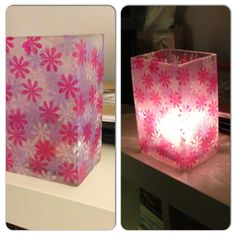 """Stained glass"" vase/votive candle holder - Made with modge podge and tissue paper!"