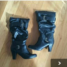 Merona Black Faux Leather Boots Sz. 8.5 These boots were bought from my daughter, but never worn.  She needs a bigger size. I still have the box. Merona Shoes Heeled Boots