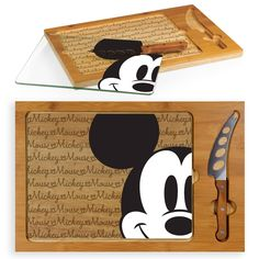 Disney Mickey Mouse Icon Glass Top Wood Serving Tray with Knife Set by Picnic Time Color: Brown. Disney Mickey Mouse Icon Glass Top Wood Serving Tray with Knife Set by Picnic Time Brown Cozinha Do Mickey Mouse, Mickey Mouse Kitchen, Disney Kitchen Decor, Disney Home Decor, Disney Decorations, Minnie Mouse, Disney Mickey Mouse, Mickey Mickey, Casa Disney
