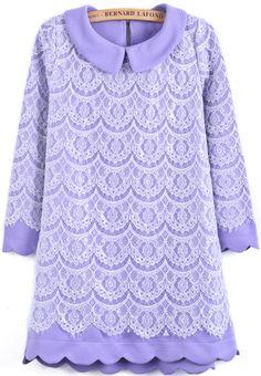 Purple Lapel Long Sleeve Lace Straight Dress - Sheinside.com