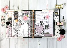 """""""February is the month of love and this gorgeous color combination provides the perfect palette for my planner spread.  I used one of the Prima Princesses as my focal image for this week."""" ~ Robin Shakoor #myprimaplanner #planneraddicts #plannerlove"""