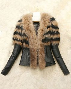 a90aaa105 Elegant Turn-Down Collar Faux Fur Embellished Long Sleeve PU Leather Jacket  For Women Jackets