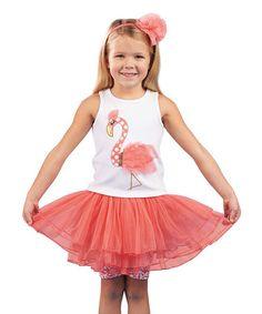 Loving this Pink Flamingo Tutu Skirt Set - Infant & Toddler on #zulily! #zulilyfinds