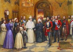 Amadée Forestier (1854-1930) - Reception of the Emperor and Empress of Russia at Balmoral, 22 September 1896