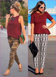 burgundy and printed pants