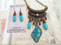 Unique necklace set turquoise copper Boho by Gypsymoondesigns