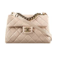Authentic Chanel Flap Bag With Handle Beige Item A93442 Y60747 2B568 Made in France