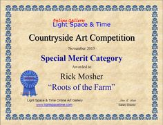 """Light Space and Time Countryside Art Competition Special Merit Category for """"Roots of the Farm"""""""