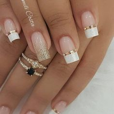 99 Charming Winter Nail Design And Color Ideas – wedding nails - LastStepPin Glitter French Tips, French Tip Nails, Glitter French Manicure, Gel Manicure, French Tip Nail Designs, Bridal Nails Designs, Wedding Nails Design, Fun Nails, Pretty Nails