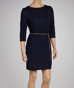 Loving this Navy Wave Belted Dress - Women & Plus on #zulily! #zulilyfinds