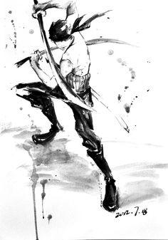 Roronoa Zoro - One Piece amazing inkwash fan art! Manga Anime, Manga Art, Anime Guys, Anime Art, One Piece Manga, Zoro One Piece, Roronoa Zoro, Anime Tatoo, Zorro Tattoo
