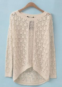 Beige Long Sleeve Hollow Embroidered Sweater pictures $32.62