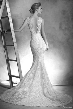 pronovias 2016 atelier haute couture ingrid sleeveless lace mermaid wedding dress v neckline back view train #weddingdress #weddings