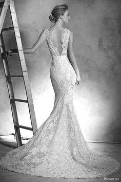 pronovias 2016 atelier haute couture ingrid sleeveless lace mermaid wedding dress v neckline back view train -- Atelier Pronovias 2016 Haute Couture Wedding Dresses