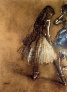 Two Dancers, 1880 by Edgar Degas. Impressionism. genre painting. Private Collection