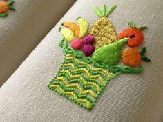 Fruit Basket Vintage Marghab Madeira Hand Embroidery 10 Cocktail Napkins Linen | eBay