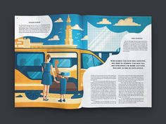 I was commisioned by Strichpunkt Design to create some editorial illustrations for an article about MOIA ride pooling in the Journal der Autostadt wich is a company of the Volkswagen AG. Magazine Layout Design, Book Design Layout, Graphic Design Layouts, Graphic Design Posters, Graphic Design Inspiration, Magazine Layouts, Corporate Brochure Design, Brochure Layout, Brochure Template