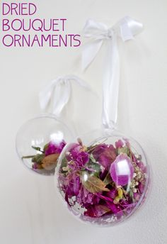 Dried Bouquet Ornaments-- perfect for dried wedding flowers. What to do with your wedding bouquet.