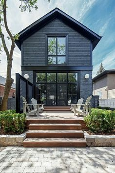 Ingenious Ideas Black Exterior Paint Architecture - Modern Home Design With Our Architects Exterior Paint, Exterior Design, Exterior Colors, Stucco Exterior, Exterior Stairs, Exterior Cladding, Brick Design, Black House Exterior, Grey Exterior