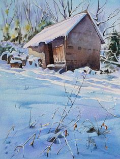 aquarelle-watercolor-shack snow-final STEP by STEP aquarelle-watercolor-shack snow-final STEP Watercolor Landscape Paintings, Watercolor Artwork, Watercolor Artists, Watercolor Techniques, Watercolor Illustration, Watercolor Trees, Watercolor Portraits, Abstract Paintings, Painting Snow