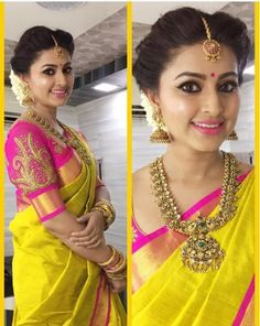 Indian bridal wear yellow saris Ideas for 2019 Beautiful Blouses, Beautiful Saree, Beautiful Bride, Beautiful Flowers, South Indian Bridal Jewellery, Bridal Jewelry, Gold Jewellery, Jewellery Designs, Jewellery Shops