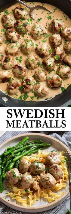 Swedish Meatballs - Flavorful oven baked meatballs made with beef and pork and tasty spices. One of the best comfort food recipes! Pork Recipes, Cooking Recipes, Healthy Recipes, Delicious Recipes, Yummy Food, Beef Dishes, Food Dishes, Appetizer Recipes, Dinner Recipes