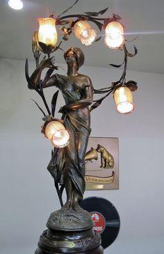 """Brossy Signed Art Nouveau Newel Post Lamp Entitled """"Bonjour!"""""""