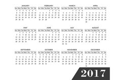 Simple calendar 2017 template by Sunshine Art Shop on @creativemarket