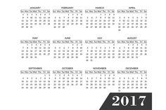 Simple calendar 2017 template by Sunshine Art Shop on @creativemarket