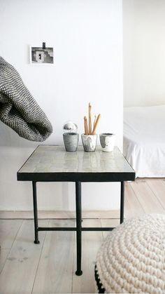 """Moroccan """"Zellij"""" Side Table - Clear Stone"""