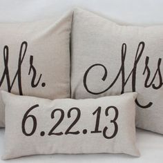 So cute!!!!!! Mr. & Mrs. Custom Pillow with Wedding Date $58.00