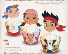 Printable Jake and the Neverland Pirates Cupcake Toppers & Wrappers, Digital…