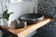 THE TILE UNCLE - dream bathroom with river pebble and stone sink (Photo Bathroom Renos, Bathroom Interior, Modern Bathroom, Small Bathroom, Bathroom Vanities, Bathroom Remodeling, Ideas Baños, Sinks For Sale, Downstairs Toilet