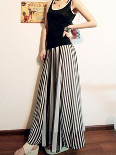 Striped Classic Chiffon Long Skirt