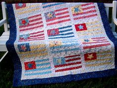 4th of July Quilt, with Bright Colors with Cottage, Beachy Feel with Charlevoix fabric From Moda