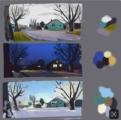 The weather has changed a lot in the last few days so I've been studying my street during different weather conditions this is too much Digital Painting Tutorials, Digital Art Tutorial, Art Tutorials, Color Studies, Art Studies, Art And Illustration, Bg Design, Illustrator, Posca Art