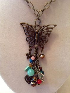 Gold Chain and Butterfly  Beaded Charm Necklace by ErinMichellesJewelry