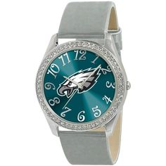 Game Time Watch, Women's Philadelphia Eagles Silver Leather Strap 40mm... ($40) ❤ liked on Polyvore featuring jewelry, watches, green dial watches, bezel jewelry, dial watches, water resistant watches and nfl watches