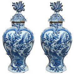 Pair of 18th/19thc Dutch Delft Vases | From a unique collection of antique and modern delft and faience at http://www.1stdibs.com/furniture/dining-entertaining/delft-faience/