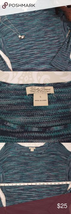 Lucky Brand Tunic Style Sweater Size L Excellent condition light weight Blue/Green Luck Brand sweater.   Size L.  Bundle your likes for a personal discount.  Thank you for shopping my closet!  :0) Lucky Brand Sweaters